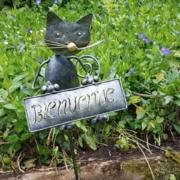jardin- piquet décoratif bienvenue chat